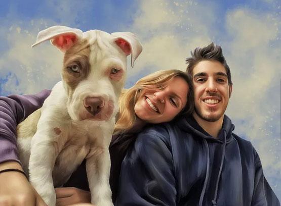 foto-schilderij-portret-stel-met-hond